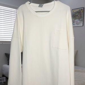 Fleece White Long sleeved shirt OVERSIZED
